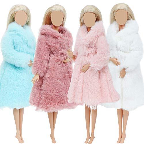 4 PCS Multicolor Langarm weicher Pelzmantel für 11,5 Zoll Flanell Outfit Tops Kleid Winter warmes Zubehör Kleidung Freizeitkleidung für Barbie Doll Kids Toy