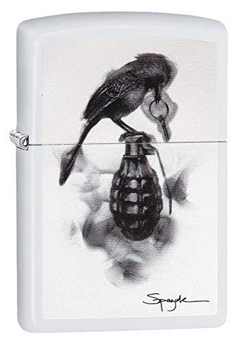 Zippo Spazuk Bird Design White Matte Pocket Lighter