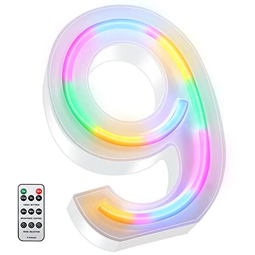 Luces LED de Letras Coloridas, Señal de Neón de 26 Alfabeto Luces de Número de Marquesina con Control Remoto Lámparas de Brillo Alimentadas por 2 Pilas AAA para Pared de Hogar (Número 9)