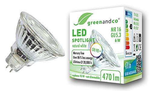 greenandco® CRI90+ 4000K 36° LED Spot neutralweiß ersetzt 45 Watt GU5.3 MR16 Halogenstrahler, 6W 470 Lumen SMD LED Strahler 12V AC/DC Glas mit Schutzglas, nicht dimmbar, 2 Jahre Garantie