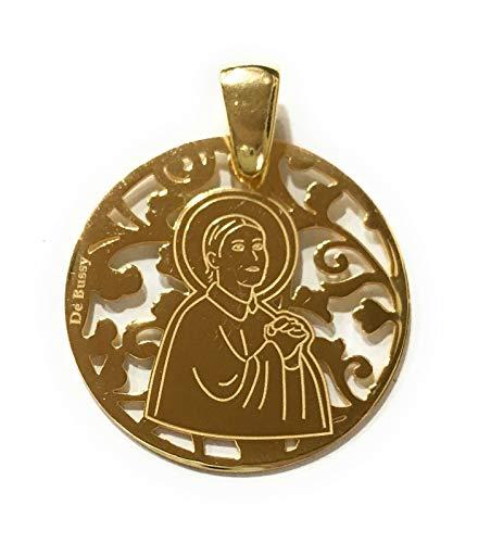 Medalla Santa Gema en Plata de Ley Cubierta de Oro de 18kt.