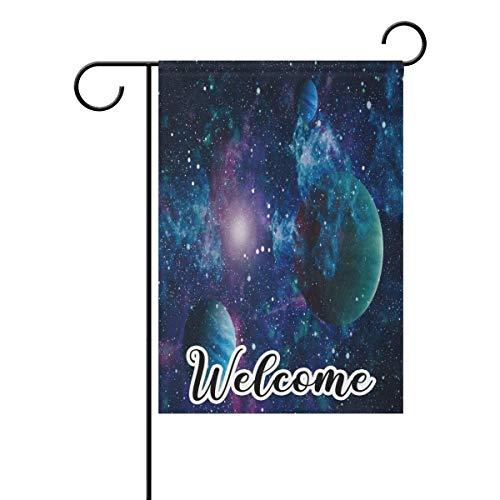 N/A Bandera de bienvenida para jardín, espacio exterior, luna, planeta, estrella, doble cara, para jardín, patio, decoración al aire libre, 28 x 40 pulgadas, 71 x 101 cm