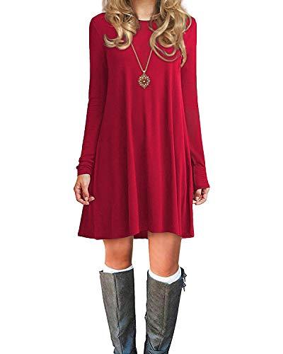 Durio Damen Einfaches Kleider Basic Casual A-Linie Skaterkleid Freizeit Kleider Fließendes Kleid Langarm Beiläufige Shirt Lose Rundhals Tunika Rot EU 38(Tag S)