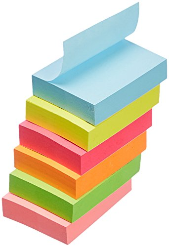 """Amazon Basics Sticky Notes - 1 3/8"""" x 1 7/8"""", Assorted Colors, 18-Pack"""