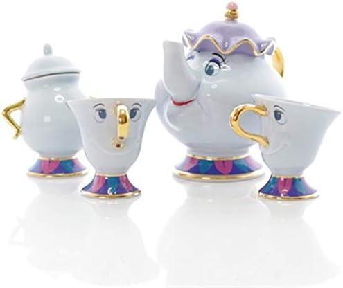 Cartoon Beauty And The Beast Tea Set Teapot Cup Mrs Potts Sugar Pot Bowl Chip Mug Plate Saucer product image