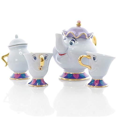 Cartoon Beauty And The Beast Tea Set Teapot Cup Mrs Potts Sugar Pot Bowl Chip Mug Plate Saucer Kettle Milk Coffee Creative Gift (Color : 1 Pot 2 Cup 1 Sugar)