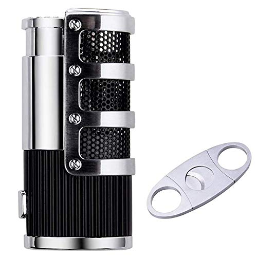 Cigar Cutter and Lighter Set, Cigar Punch Lighter Triple Jet Flame Butane Cigarette Torch Lighter (Black)