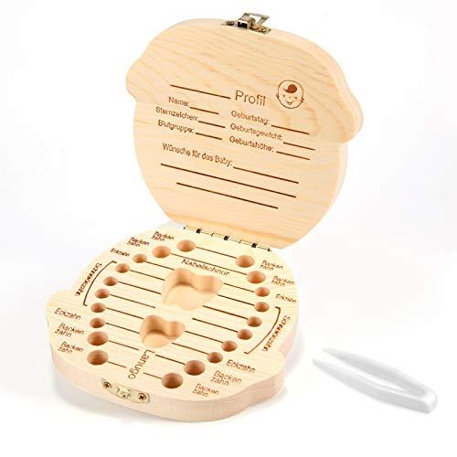 Siumir Zahndose Milchzähne Box aus Holz Milchzahndose Jungen, Souvenir Aufbewahrungsbox mit Pinzette