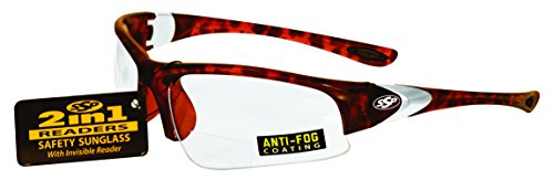SSP Eyewear 1.50 Bifocal/Reader Safety Glasses with Demi Frames and Clear Anti-Fog Lenses, ENTIAT 1.5 DMI CL A/F