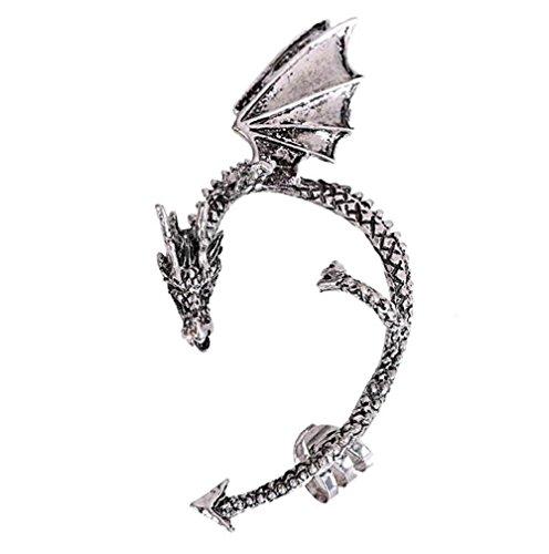 Gothic Punk Temptation Metal Dragon Bite Ear Cuff Wrap Clip Earring Silver (Silver)