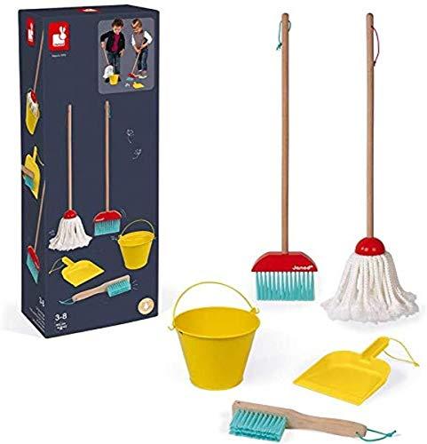 Janod - Set de limpieza - 5 accesorios de madera realistas - Escoba + Fregona + Cubo + Pala + Cepillo - Juguete de imitación de madera para niños - A partir de 2 años, J06588
