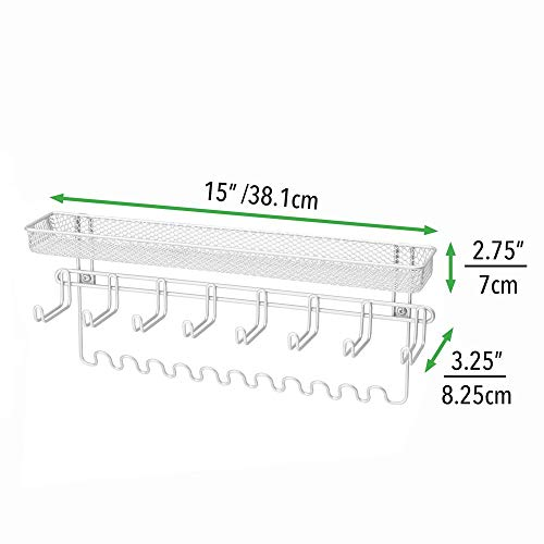 mDesign Decorative Metal Closet Wall Mount Jewelry Accessory Organizer for Storage of Necklaces, Bracelets, Rings, Earrings, Sunglasses, Wallets - 8 Large /11 Small Hooks, 1 Basket - White