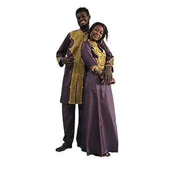 HD African Couple Clothes for Woman Traditional Wear Dashiki Maxi Wedding Dress,F-Purple XL