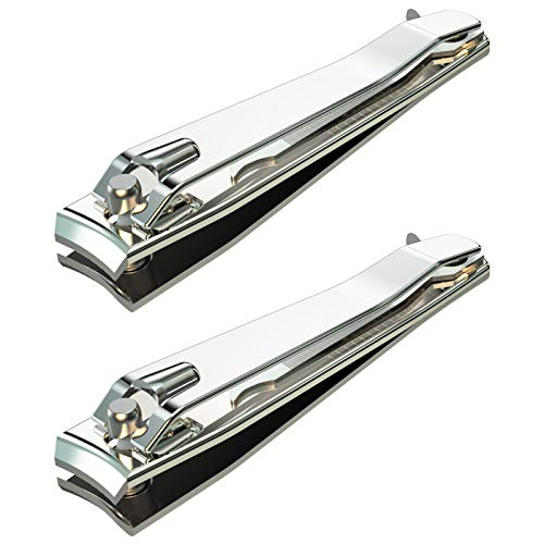 firiKer 2PCS Stainless Steel Nail Clippers,Professional Fingernail Clipper and Toenail Clipper, Wide Easy Press Lever Nail Cutter with Swing Out Nail Cleaner/File for Men and Women