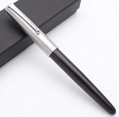 JINHAO 51A Wooden Fountain Pen Steel Cap Brand New (Ebony Wood, Extra Fine Nib 0.38mm)