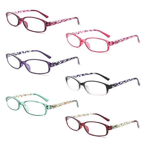 IVNUOYI 6 Pack Reading Glasses Blue Light Blocking,Fashion Ladies Spring Hinge Readers with Pattern Print,Anti Glare UV Eyeglasses for Women 2.25