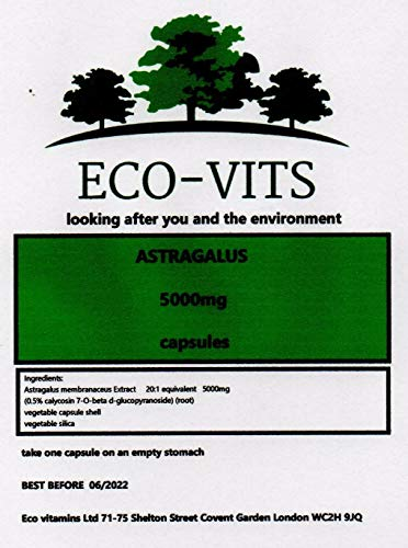 ECO-VITS Astragalus (5000MG) 30 CAPS. Biodegradable Packaging. Sealed Pouch
