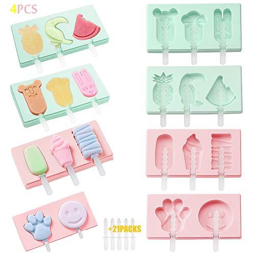 4 Eisformen Popsicle Formen Set,Popsicle Formen Set,EIS am Stiel Bereiter-mit 31 Plastikstangen&Anti-Überlauf Abdeckung,Stieleisformer LGFB Geprüft und BPA Frei für Kinder, Baby, Erwachsene