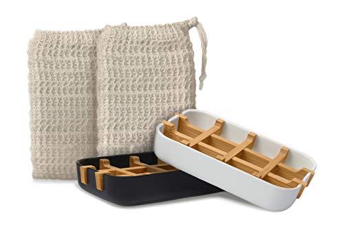 EDARTO® 2 Seifenschalen nachhaltig, umweltfreundlich aus Natur-Bambus-Holz mit Abtropfwanne + 2 x Seifensäckchen/Seifenbeutel, 100% natürlicher Sisal für Körper-Peeling