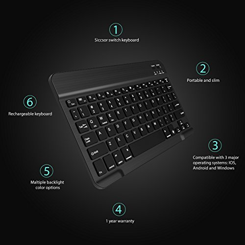 Multi-Device Bluetooth Keyboard, Jelly Comb Ultra Slim Full Size...