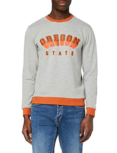 Amazon-Marke: find. Herren Sweatshirt mit Oregon-Print, Grau (G-Marl), XL, Label: XL