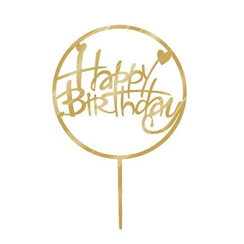 Diamoen Torta del Feliz cumpleaños Topper acrílico Oro centelleo del Brillo de Bricolaje Torta de la Magdalena Partido de la Vela Hecha a Mano palillo de Rotura violenta