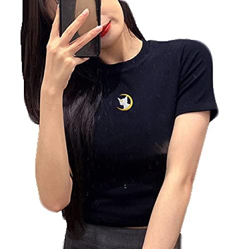 Cuello Redondo Camiseta Ombligo Mujer Manga Corta Crop Camiseta con Negro Patrón De Gato Camiseta Cropped Mujer L