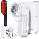 MENOLY Fabric Shaver Lint Remover, Fabric Clothes Shaver Sweater Defuzzer with 1 Replaceable Stainless Steel 3-Blades and 1 Double Sided Lint Brush, Battery Operated