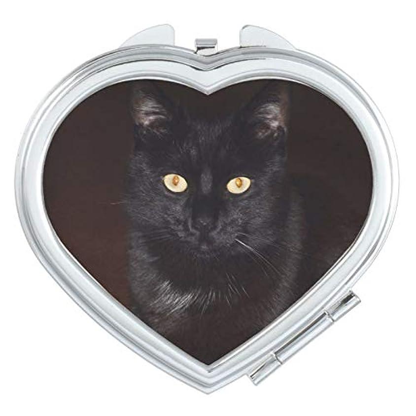 ハンディ進捗忠誠RECASO ハート コンパクト ミラー 手鏡 ダブル 両面 化粧直し 化粧 鏡 拡大鏡 ハンドミラー レディース 携帯 誕生日プレゼント 引っ越し 挨拶 転勤 お祝い 黒猫