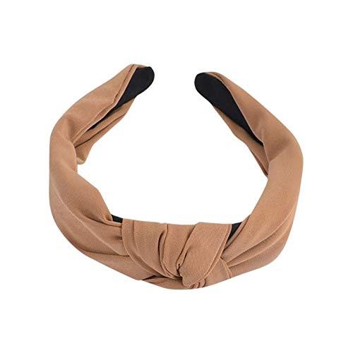 AiKoch Frauen-Bogen-Knoten-Turban Hairband Frauen-Haar-Kopf-Band-Band-Zusatz-einfaches Mädchen-Haar Hairband Stirnband Beautiful (Color : Khaki)