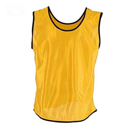 DAUERHAFT Material de poliéster Transpirable Chalecos de Entrenamiento Scrimmage 4 Colores Jerseys para niños Chalecos Ajuste Suelto Secado rápido, para Otros(Yellow)