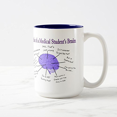 Zazzle Atlas Of a Medical Student's Brain #2 Mug, Navy Blue Two-Tone Mug 15 oz