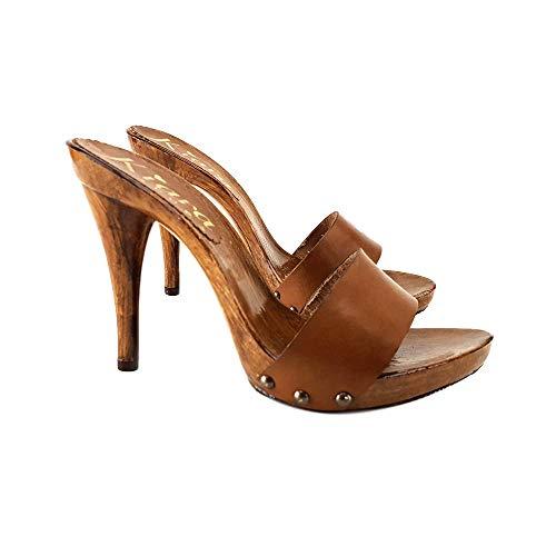 Kiara Shoes Zoccoli Alti in Cuoio Made in Italy - KM7202-CUOIO (42 EU, Cuoio)