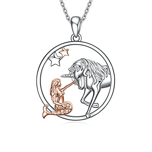 Meerjungfrau Kette Einhorn Anhänger 925 Sterling Silber Einhorn Kette Schmuck Geschenk für Damen Mädchen (Einhorn und Mädchen)
