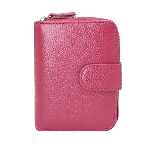 ENONEO Kreditkartenetui RFID Schutz Kartenhalter Geldbörse Damen Leder mit 12 Karten 4 ID Windows & 2 Geld Münzfach Fächer Geldbeutel Damen Klein Portemonnaie Frauen (Rose Rot)