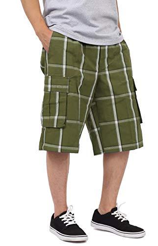 Shaka Wear Men's Cargo Shorts – Casual Plaid Loose Relaxed Loose Fit Elastic Waist Multi Pocket Pants Regular Big Size SP1756 Olive L