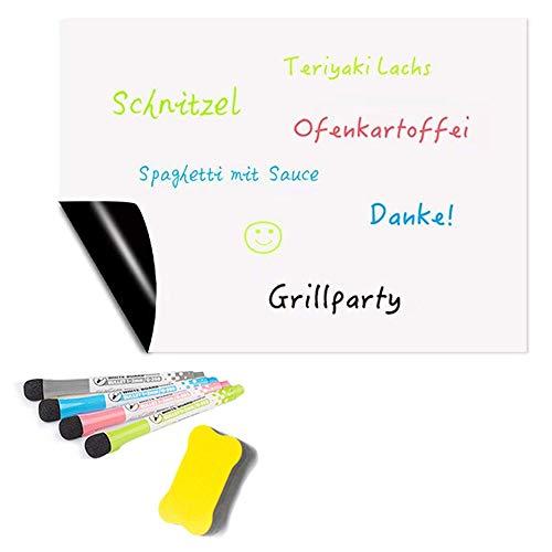 Alaskaprint magnetische Whiteboard-Folie für den Kühlschrank A3 Magnettafel Einkaufsliste magnetisch Küche Essensplaner Menü Memo Erinnerung Planer abwischbar für Küche Putzplan 43 X 30cm 3 Marker