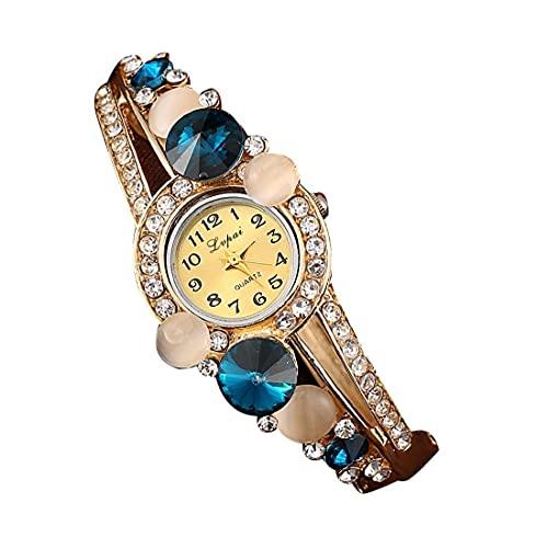 Flor Cristal Mujeres Reloj analógico de Cuarzo Reloj de Pulsera con Brazalete del Cristal de la aleación Reloj Multi usos Built-in Blue batería