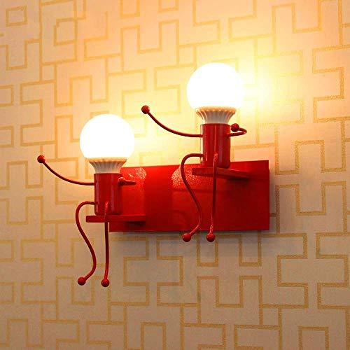 Nordic creatieve ijzeren kunst machine Little man wandlamp lamp persoonlijkheid metaal schommel wandlamp woonkamer kinderen slaapkamer bedlampje E27, D-B Rood -2-licht