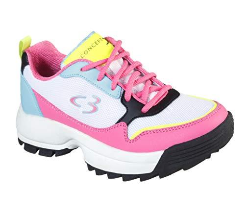 Concept 3 by Skechers Girls' On-it Lace-up Sneaker, White Multi, 2.5 Medium US Little Kid