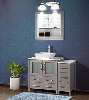 Vanity Art 42 Inch Single Sink Bathroom Vanity Set 1 Shelf 5 Drawers Quartz Top and Ceramic Vessel Sink Bathroom Cabinet with Free Mirror VA3130-42-G