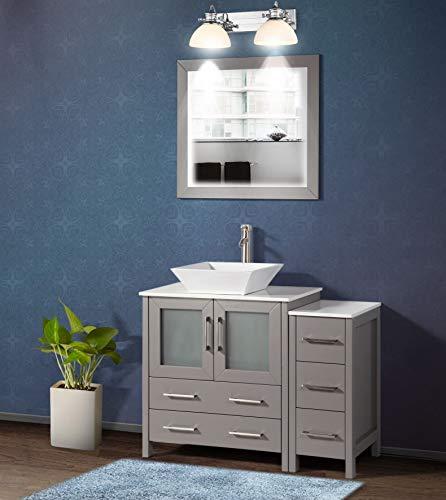 Vanity Art 42 Inch Single Sink Bathroom Vanity Set 1 Shelf 5 Dove-Tailed Drawers Quartz Top and Ceramic Vessel Sink Bathroom Cabinet with Free Mirror VA3130-42-G