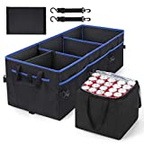 Trunk Organizer with Leakproof Cooler Bag, COCOBELA Insulated Car Storage Organizer, Non Slip Bottom, 2 Adjustable Tie-Down Straps, Collapsible Trunk Storage Organizer for Cars, Trucks and SUVs