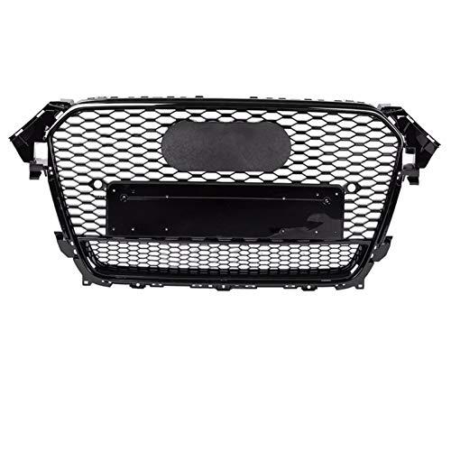 GAOLILI para RS4 Style Front Sport Hex Mesh Honeycomb Hood Grill Negro Brillante para Au-di A4 / S4 B8.5 2013-2016 Accesorios De Estilo De Coche (Color : Style1 Chrome Emblem)