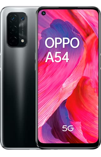 "OPPO A54 5G - Pantalla 6,49"" (LCD FHD+ 90Hz, 4 GB RAM+ 64 GB Almacenamiento, Qualcomm Snapdragon 480 5G, Cuádruple cámara 48+8+2+2 MP, 5000 mAh con Carga rápida de 10 W) Negro [Versión ES/PT]"