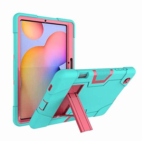Funda para Samsung Galaxy Tab S6 Lite 10.4 2020 P610 P615 SM-P610 SM-P615 Infantil Funda protectora adecuada para base híbrida resistente a los golpes (verde menta y rosa rojo)