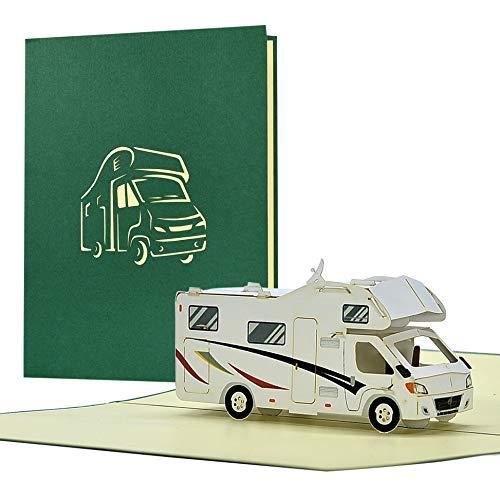 Geburtstagskarte mit Pop Up Wohnmobil | Karte Geburtstag mit 3D Wohnwagen als Reisegutschein | Gutschein Urlaub| Glückwunschkarte bestandene Prüfung, H33