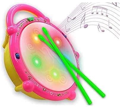 Brinquedo Tambor Flash Drum Com Som E Luzes Bumbo Eletronico