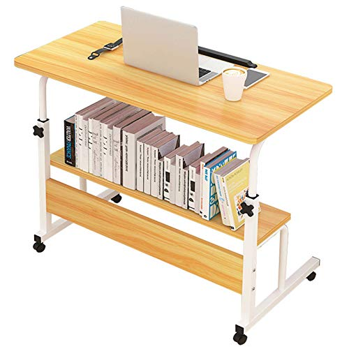 BNMKL Computer Desk, Sofa Side Table with Wheels, Height Adjustable Home Office Workstation with Storage Shelves, Movable Writing Desk,Oak,80x40CM