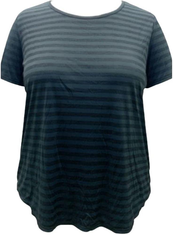 Ideology Plus Size Shadow Stripe T-Shirt Black Size 3X